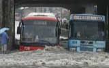 武汉连降暴雨 市区道路积水成河