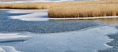 湖面结冰景色美