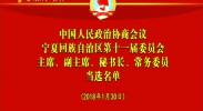 宁夏第十一届委员会主席、副主席、秘书长、常务委员当选名单