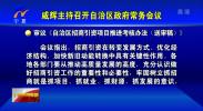 咸辉主持召开自治区政府常务会议-190408